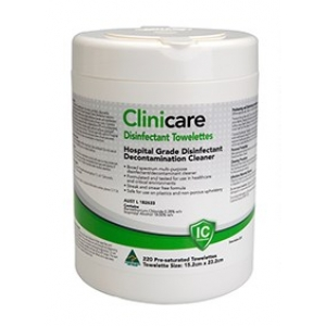 Clinicare Hospital Grade Disinfectant Wipes Tub (220)