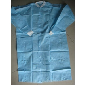 Dental Gown Medium Blue, White Buttons, Cuffs & Collar (10)